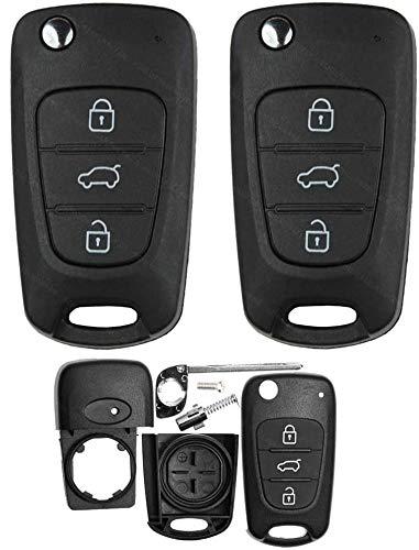 Elantra - 2 carcasas de repuesto para mando a distancia de coche de 3 botones compatible con Hyundai I20 - I30 - IX20 - IX35