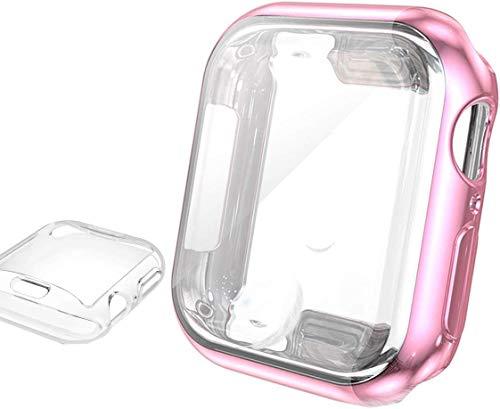 【Amazon限定ブランド】?Wearlizer Apple Watch/アップルウォッチSeries 5 / Series 4 ケース,iwatch 全面保護+高透光カバー,二個セット 衝撃防止 本体保護 装着簡単 水防止 TPU周り保護Apple wa