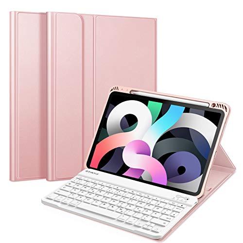 """Fintie Tastatur Hülle für iPad Air 10,9\"""" 2020 (4. Generation) Soft TPU Rückseite Gehäuse Schutzhülle mit Pencil Halter, magnetisch Abnehmbarer Bluetooth Tastatur mit QWERTZ Layout, Roségold"""