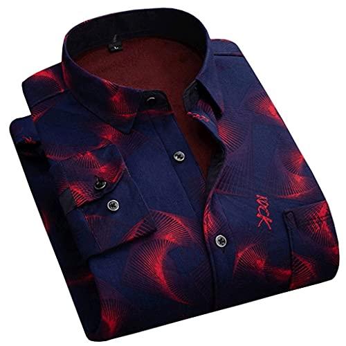 ZYING Cálido de Manga Larga Imprimir Tela Lámina Casual Fleece Forrado Franela Suave Vestido Camisas (Color : Red, Size : L Code)