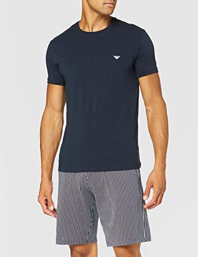 Emporio Armani Underwear Herren Loungewear - Patter Mix Pyjamas Zweiteiliger Schlafanzug, Blau (RIGA Marine/Bianco 16135), Small (Herstellergröße:S)