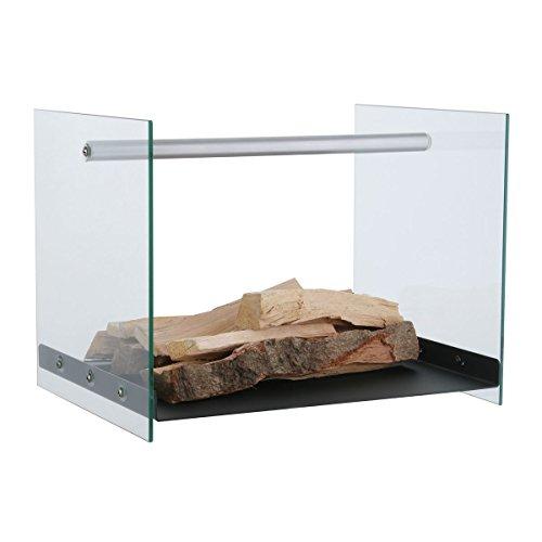 KaminoFlam Kaminholzständer Eisen & Glas - Holzkorb Design - Kaminholzregal Innen - Holzlege schwarz - Kaminholzschale Metall - Holzschale für Kamin