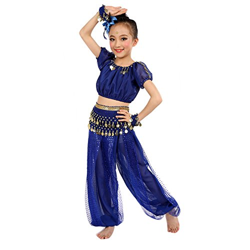 Amazing Deal Children Girl Belly Dance Performance Costumes India Traditional Dance Pants Set (M, Bl...