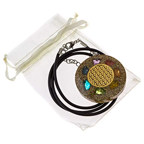 Reiki Flower of Life with 7 Chakra Crystals | EMF Protection and Sleep Aid | Orgone Pendant with Complimentary Leather Neck Cord and Bag