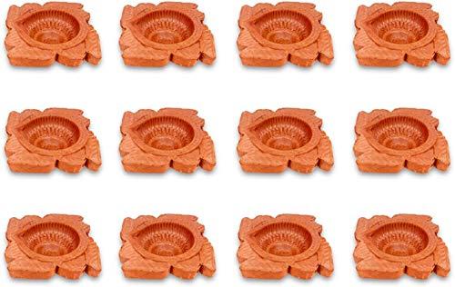 Craftsman 12 Pc Set of Diwali Gift Clay Diya.Handmade Natural Earthen Oil LampTraditional Diyas with Cotton Wicks Batti. Deepawali Diya Lamp. Earthen Lamp. Oil lamp Indian Gift Items.