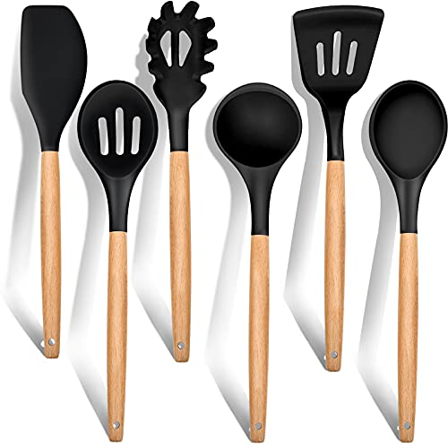 Kitchen Utensils Set of 6, E-far Silicone Cooking Utensils with Wooden Handle, Non-stick Cookware Friendly & Heat Resistant, Includes Spatula/Ladle/Slotted Turner/Serving Spoon/Spaghetti Server(Black)