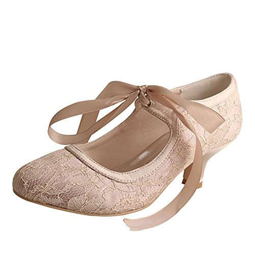 Zapatos De Boda para Mujer Encaje Satén Mary Jane Tacón Bajo Cinta...