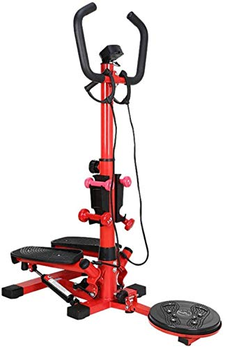 Stepper 2-in-1 multifunctionele mini stepper hometrainer met LCD-display en handvat Body Twister roze rode mini stepper (kleur: rood)(Upgrade)