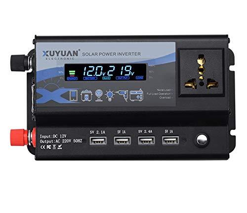 Inversor de automóvil 12V / 24V 300 W LED Atmósfer Inversor de corriente del coche a colorida Luz 4USB Voltaje Convertidor de energía Power 24V-110V-300w