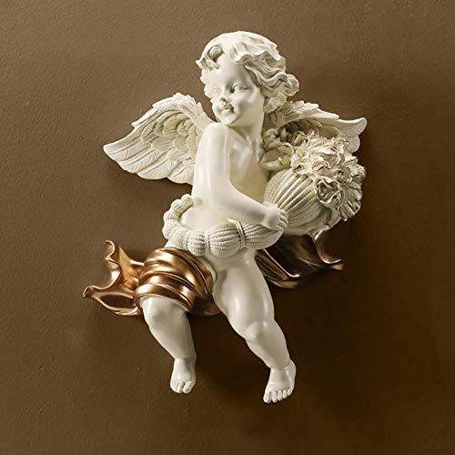 LIUSHI Esculturas para Colgar en la Pared de Cupido de ángel Infantil, decoración del hogar, Adornos artísticos en 3D, Figuras coleccionables de Boda, sostenga la Flor, querubín, estatuas de jardín