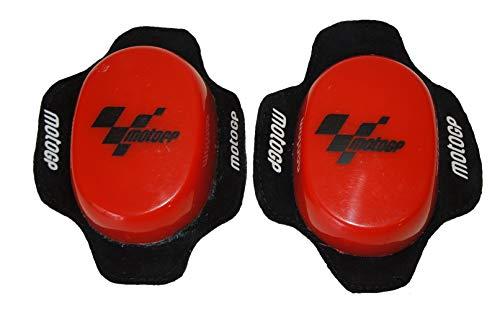 Deslizadera de rodilla para motoristas, rodillera deslizantes carretera circuito competicion sliders con logo MotoGP (Rojo)