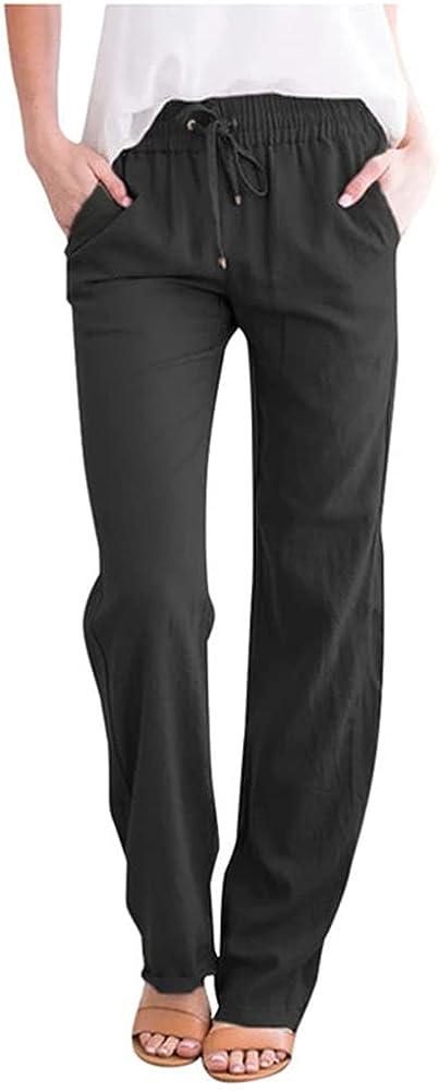 NP Summer Women Cotton Linen Pants Casual Solid Color Loose Pocket Wide Leg Pants