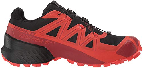 Salomon Herren Spikecross 5 GTX Trail Running, Schwarz (Schwarz/Racing Red/Red Dahlia), 38 EU