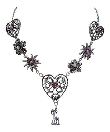 Trachtenschmuck Dirndl Kristalle Colllier - Altsilber-Farben - Edelweiss Herz und Blüten Kette (Pink)