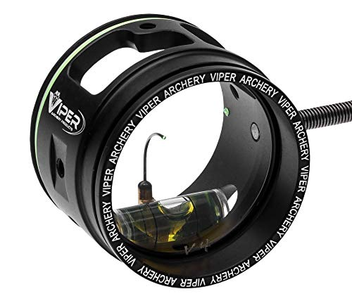VIPER Archery - Pro Series Target Archery Scope and Sight for Recurve and Compound Bows, 1 3/4' Aircraft Aluminum Housing, 0.010 Green Up Pin, 4X Magnification Glass Lens - Made in USA