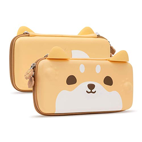 Geekshare Cute Dog Ear Carry Case Compatible with Nintendo Switch - Portable Hardshell Slim Travel Carrying Case fit Switch Console and Accessories-A Removable Wrist Strap