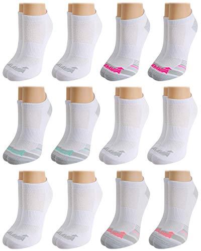 Avia Women's Pro Tech Performance No Show Athletic Socks (12 Pack), White, Shoe Size: 4 - 10