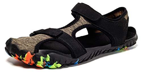 Uomo Sandali Sportivi Estivi Sneakers Donna Trekking Scarpe da Spiaggia Sandali a Punta Chiusa All'aperto Pescatore Piscina Acqua Mare Escursionismo Leggero, Marrone, 45 EU