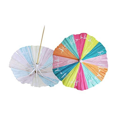 UPKOCH Parasol para Bebidas, Paraguas Hawaiano con Texto en inglés Happy Letter,...