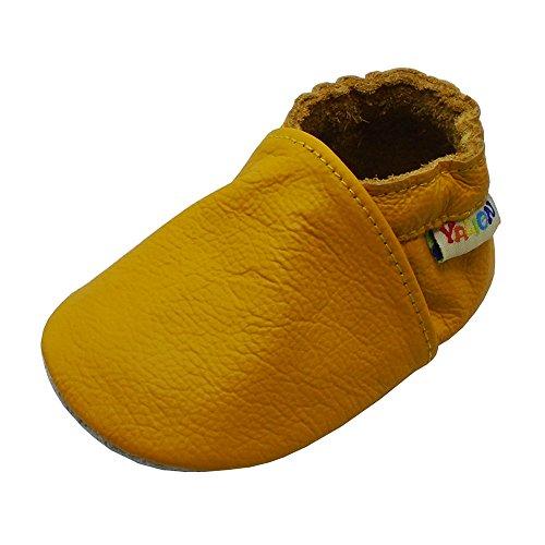 YALION Baby Weicher Leder Lauflernschuhe Krabbelschuhe Babyschuhe Babyhausschuhe(Gelb,12-18 Monate)