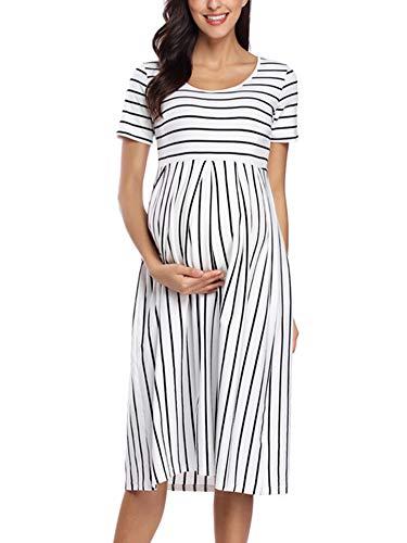 Love2Mi Abito da donna a maniche corte per gravidanza, a righe, lunghezza al ginocchio, linea A, Strisce bianche e nere., S