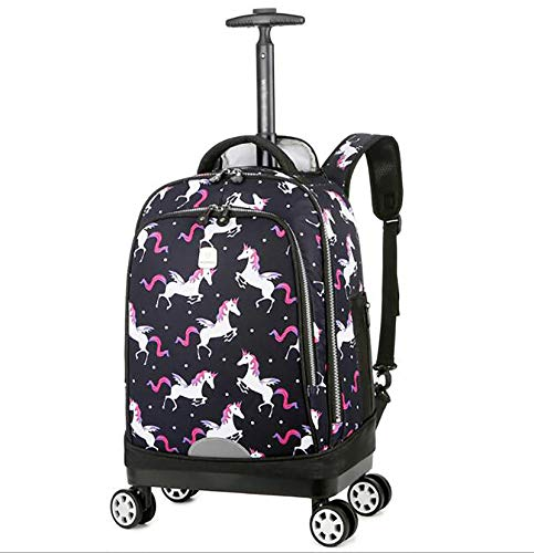 YQY Wheeled Backpack Adorable Trolley School Bag Boy Detachable Trolley Backpack Cabin Luggage Bag,D