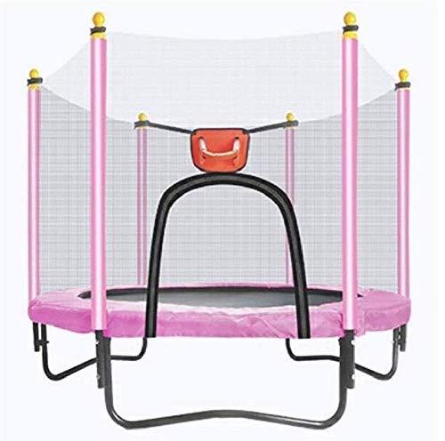 KAIGE Indoor Trampoline Bambini con la Recinzione Net Mini rimbalzista Trampolino Imbottitura Molle Elastiche Sicuro for dell'interno/Esercizio all'aperto Allenamento WKY (Color : Pink)