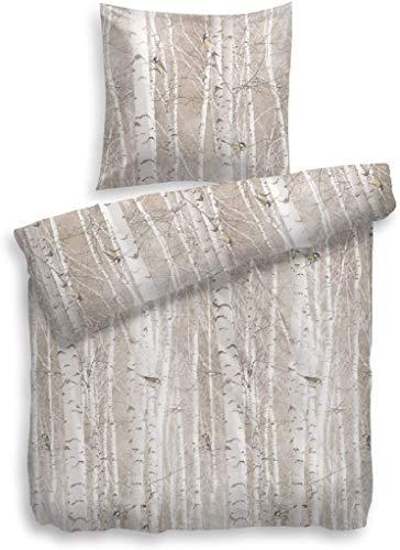 Heckett & Lane Goldie Parure de lit en Flanelle avec Housse de Couette 155 x 220 cm et taie d'oreiller 80 x 80 l Couleur Taupe l