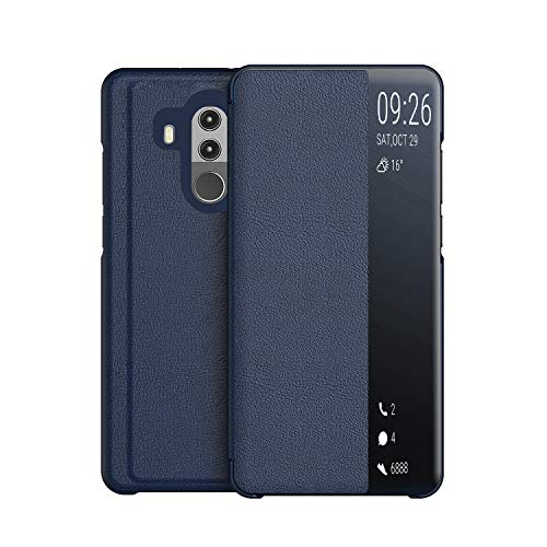 KANSI Cover compatibile con Huawei Mate 10 Pro, Flip Pelle Smart View Custodia + Pellicola protettiva - Marino