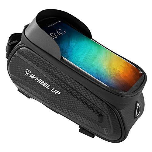 Bolsa para cuadro de bicicleta, bolsa impermeable para manillar de bicicleta, tubo frontal, pantalla táctil, visor de almacenamiento con orificio para auriculares, para cualquier smartphone por debajo de 7 pulgadas, color Logo blanco reflectante, tamaño 8*4.3*5.5in