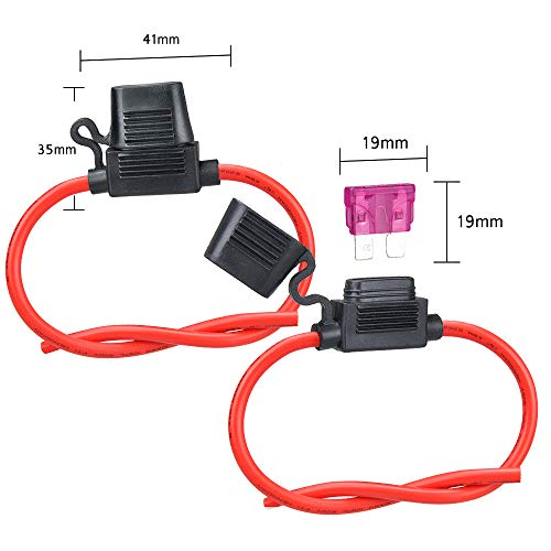 MUYI 2 Sets Inline Fuse Holder 10 Gauge Waterproof Pigtail Blade Fuse Holders with 40AMP ATC Fuses
