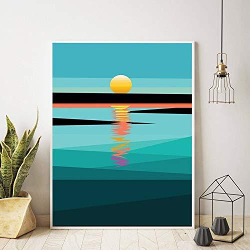 Sunset Wall Art Lienzo Pintura Cuadro Abstracto geométrico Cielo océano Paisaje Arte impresión Cartel Sala de Estar decoración del Dormitorio 60x80 Sin Marco