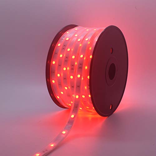 200Ft (2x100Ft) Long Run Waterproof IP67 24V RGB LED Strip Rope Light Music Sound SYNC Controller for Home Theater Backlight Crown Molding Accent Outdoor Roof Decks Railings Colors Lighting Decoration 7