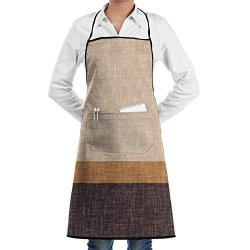 Brown And Caramel Taupe Stripe Cooking Apron Adults Waterproof Adjustable Kitchen Aprons for Baking Gardening Restaurant BBQ for Men Women