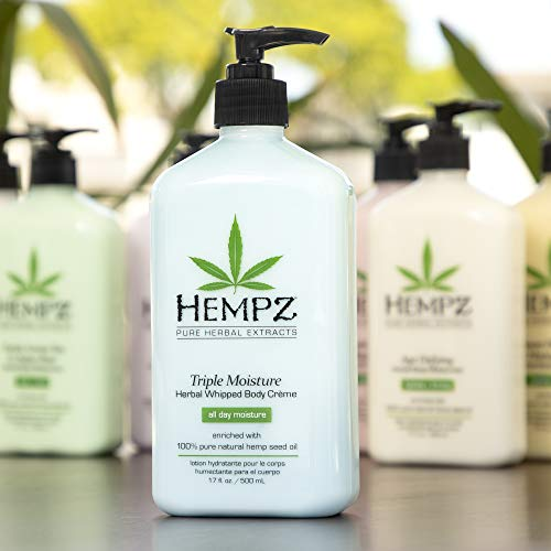 41vuMDi1HGL - Hempz Natural Triple Moisture Herbal Whipped Body Creme with 100% Pure Hemp Seed Oil for 24-Hour Hydration - Moisturizing Vegan Skin Lotion with Yangu Oil, Peach and Grapefruit - Enriched Moisturizer