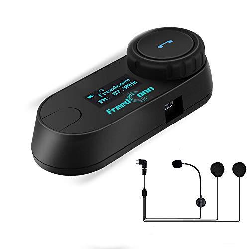 FreedConn TCOM-SC Bluetooth Motorradhelm Sprechanlage Motorrad Intercom Headsets Mit 800M, GPS, FM Radio, LCD Bildschirm (1 Einheit mit Hard Kabel Headsets)