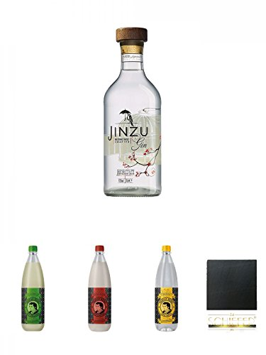 Jinzu Gin 0,7 Liter + Thomas Henry Bitter Lemon 1,0 Liter + Thomas Henry Spicy Ginger 1,0 Liter + Thomas Henry Tonic Water 1,0 Liter + Schiefer Glasuntersetzer eckig ca. 9,5 cm Durchmesser