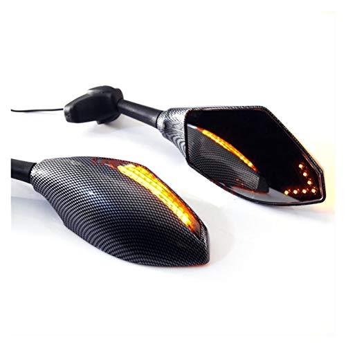 para Honda CBR 600 F3 F2 F4i 929 954 1000 RR Motocicleta Carbono LED Estilo De Carreras Retrovisores Intermitentes Espejos Integrados (Color : Negro)