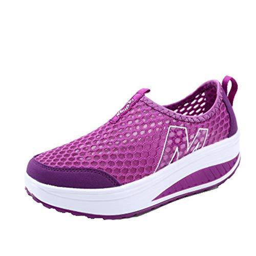 Zapatos Gruesos para Mujer, Zapatos Casuales concisos para Primavera y Verano, Zapatillas de Deporte con Plataforma de cuña, Zapatos de Malla Suave para Usar