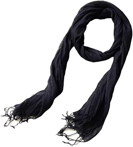 CCHAYE Leinenschal Sommer ultradünner Hals schlanker Schal aus schwarzer Baumwolle und einfarbigem Leinen faltet Unisex Improve