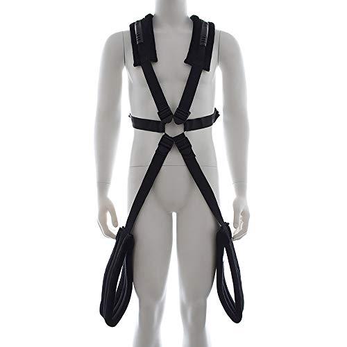 ZKO Verstellbarer Schultergurt Schwingen Hochwertiges Nylon Und Plüsch Verschleißfest Geeignet Für Bett, Türpaar Spiel Spielzeug T-Shirt(Black)