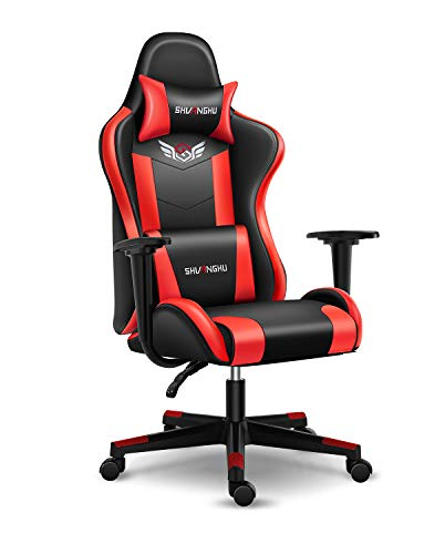 Shuanghu Gaming Chair Office Chair Ergonomic PC Computer Chair with Reclining Racing Chair with Headrest and Lumbar Support Gaming Chair for Adults Teens Desk Chair (Black + Red)