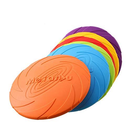 CINY Juego de 6 Juguetes de Goma para Perro, Disco Volador de Perro, 18 cm Frisbees, Juguete Volante para Perros, para lanzar Juguetes para Mascotas Tanto para la Tierra como para el Agua (Colorido)