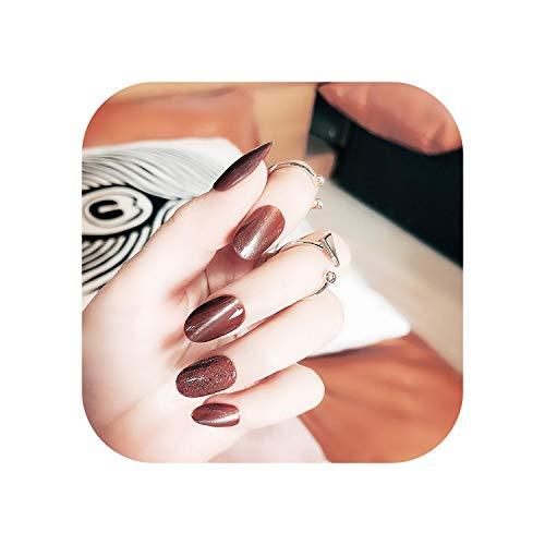 24 pcs/boîte Mode Chat Oeil Motif Faux Ongles appuyez sur la tête Ovale Noir Rouge Bleu Fini Hiver Nail Conseils avec Conçu pour les Filles-style1-