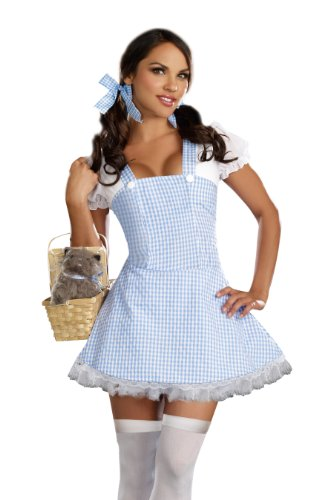 Dreamgirl Gingham Dress, Light Blue, Large