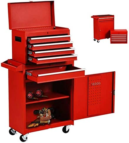 5-Drawer Tool Chest Tool Box,Rooling Tool Chest with Wheels,Tool Cabinet with Lock,4 Movable Rollers Tool Chest with 5 Drawers,Large Capacity Tool Storage for Garage 5 Drawers-Orange Warehouse.