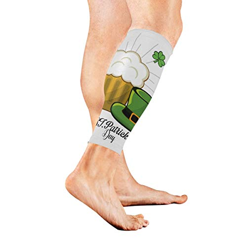 Bikofhd A Fine St Patricks Day with Hat and Clover Sports Calf Compression Sleeve Sports Medical Grade Thigh High Compression Stockings - Thigh Leg Sleeve for Women & Men - 1 Pair