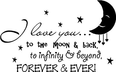 """(23""""x14"""") I love you to the moon and back, to infinity and beyond, forever and ever! cute baby nursery wall art wall sayings vinyl decals"""