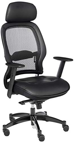 SPACE Seating Breathable Mesh Back and Leather Seat, 2-to-1 Synchro Tilt Control, Adjustable Arms and Lumbar Support, Gunmetal Finish Base, and Adjustable Headrest Managers Chair, Black