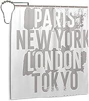 ニューヨークロンドンパリデザインネームシャワーカーテン66x72インチ、12フックプラスチックシャワーカーテン付き